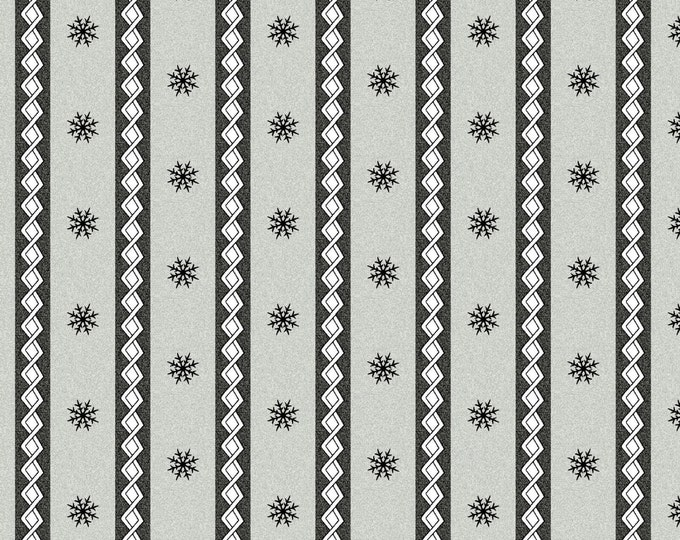 Maywood Frolic in the Snow Snowflake Winter Stripe Gray Grey Flannel Fabric BTHY