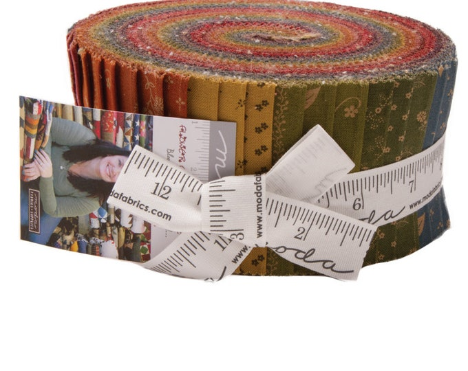 Moda Primitive Gatherings Flower Garden Gatherings Red Pink Purple Yellow Green Floral Jelly Roll 2.5 Fabric Strips