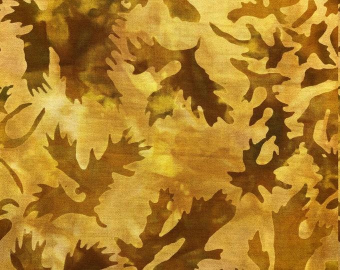 Island Batik Tonal Basic ACORN Gold Brown Honey Batik Fabric BTY