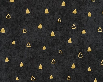 Robert Kaufman Gustav Klimt Black Gold Triangle Cotton Gilded Fabric 17182-2 BTY