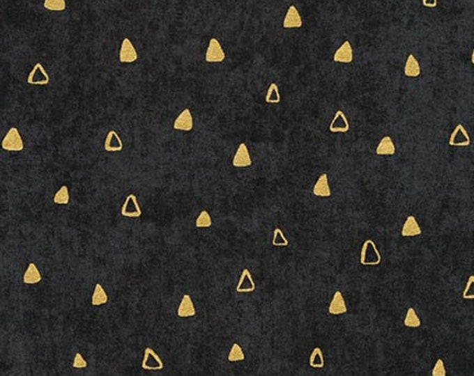 Robert Kaufman Gustav Klimt Black Gold Triangle Cotton Gilded Fabric 17182-2 BTHY