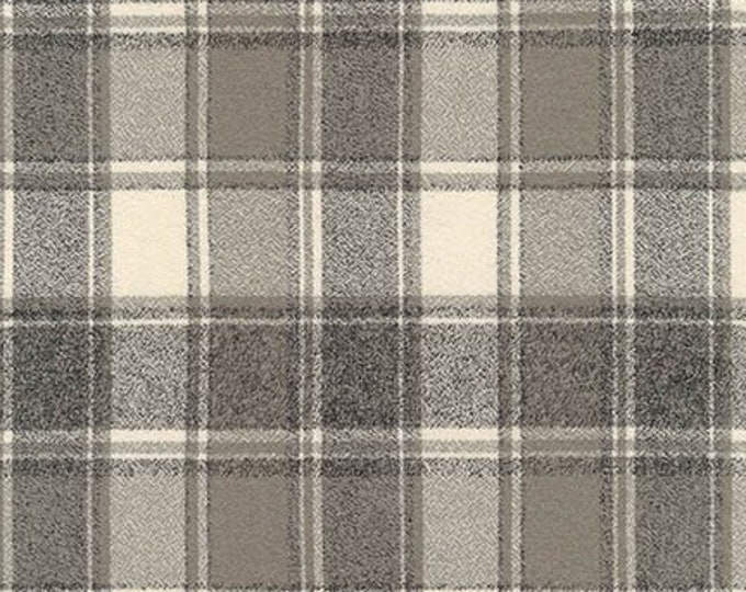 Kaufman Mammoth Flannel Iron Gray Grey Cream Windowpane Plaid Fabric 16428-295 BTY
