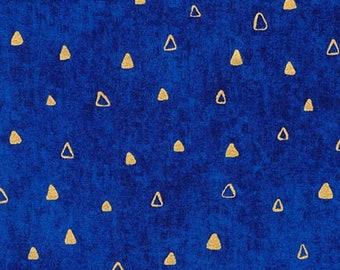 Robert Kaufman Gustav Klimt Cobalt Blue Gold Triangle Cotton Gilded Fabric 17182-72 BTY