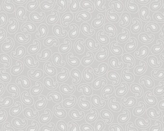 Quilting Treasures QT Gray Grey White Paisley Background Low Volume Blender Fabric 21519-K BTY