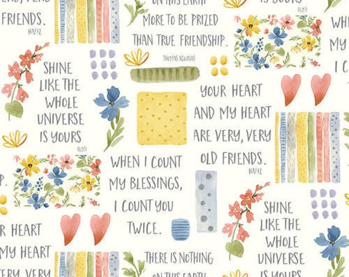 Henry Glass Fabric 9003-14 Cream Flowers & Sayings Blessings Jame Alison Cotton BTY