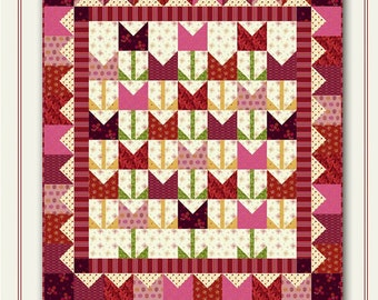 Nancy Rink Designs It's Tulip Time 40 x 44 Fat Quarter Friendly Quilt Pattern Free Ship