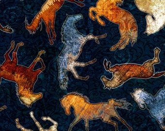 Quilting Treasures Mustang Sunset Navy Blue Wild Horse Silhouette Fabric BTY 26484-N