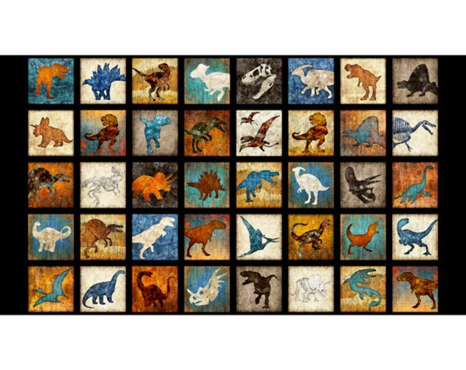 Lost World Realistic Dinosaur Dan Morris QT Fabrics Black Teal Beige 24 Inch Panel 26798-J