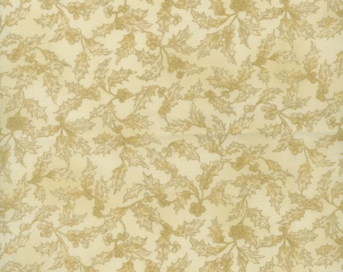 RJR Holiday Accents Cream Beige Natural Tan Holly Berries Christmas Background Fabric BTY