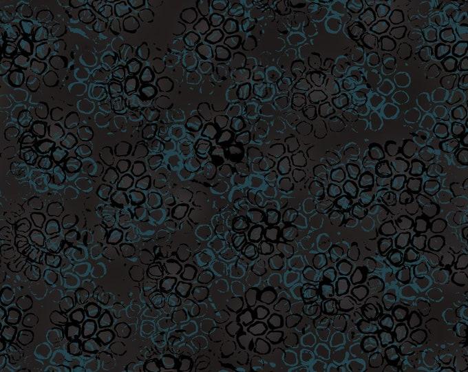 RJR POLLINATOR Leslie Tucker Jenison Black Blue Pods Fabric LT306-BA3 BTY