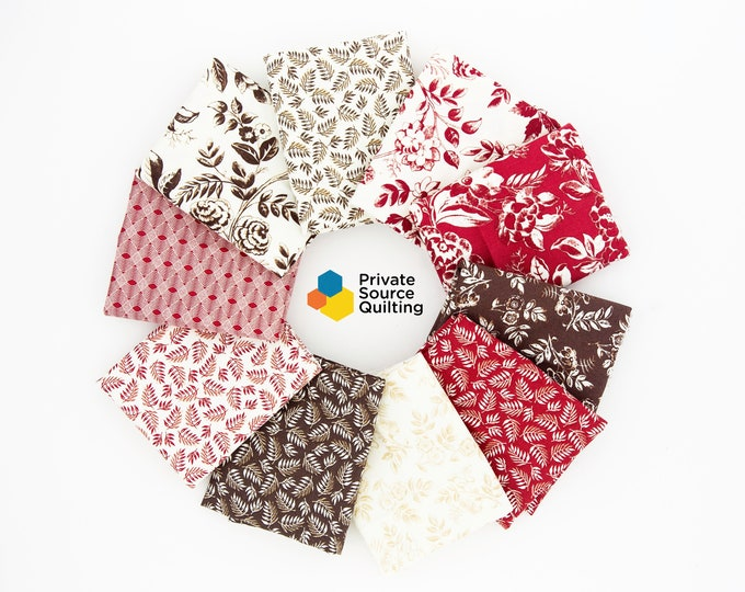 Windham Simply Red Mary Koval Cream Brown Floral Civil War Reproduction Fabric 10 FQ Fat Quarter Bundle