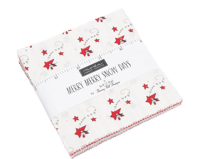 Moda Merry Merry Snow Day Bunny Hill Designs White Red Green Christmas Holiday 5 x 5 Modern Charm Squares Fabric