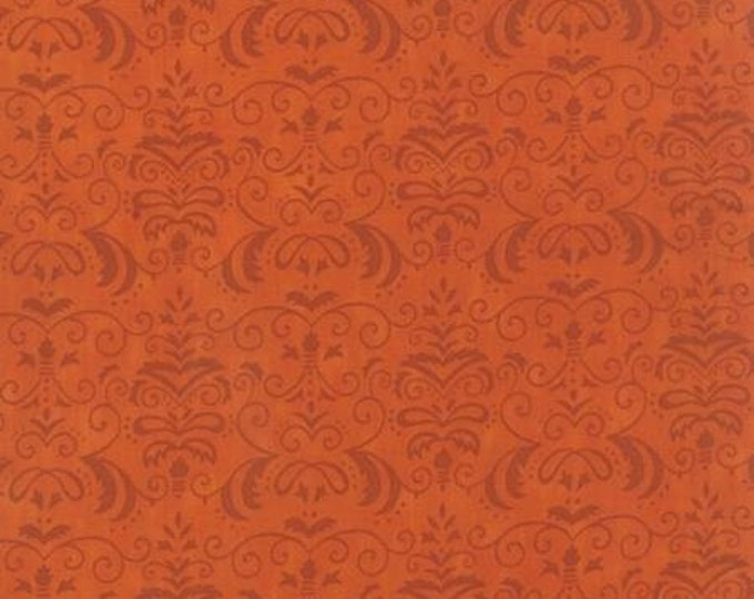 Moda Forest Fancy by Deb Strain  Harvest Orange with Damask pattern  Cotton Fall  tones 19714-11 BTY