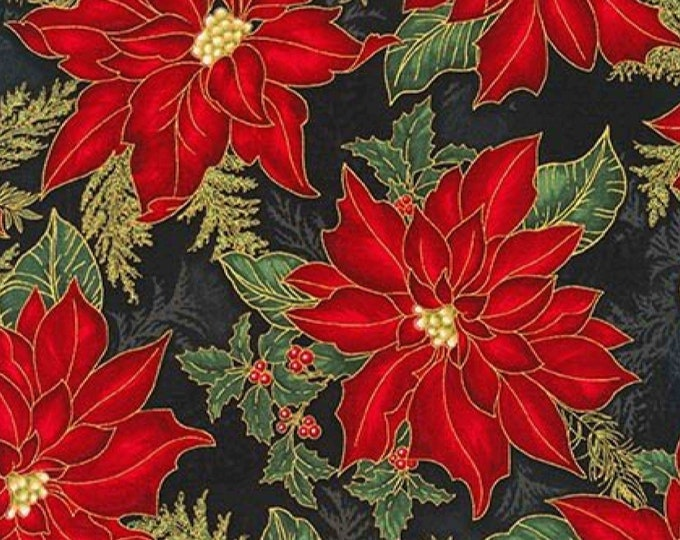 Kaufman Holiday Flourish Poinsettia Christmas Floral Black Red Fabric Metallic  Aptm-16559-2 BTY