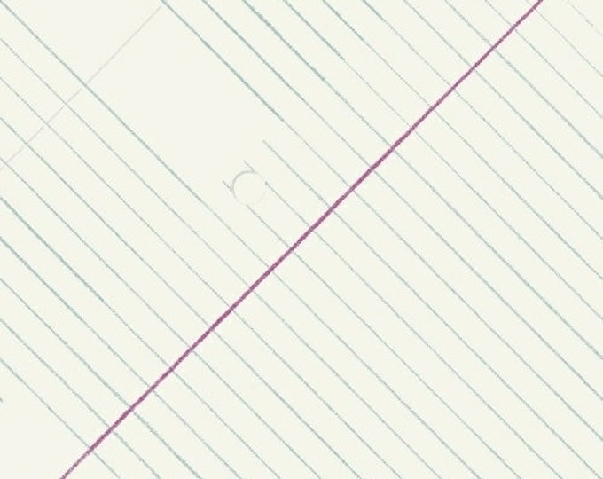 Windham Heather Givans Jot Cloud White College Ruled Paper White Blue 50455-1 Fabric BTY