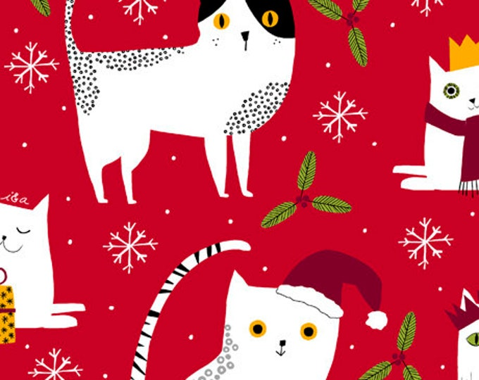 Ink and Arrow Quilting Treasures Meowy Christmas Cat Red 27117-R Fabric BTY