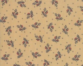 Moda Liberty Gatherings Cream Tan Off White with Blue Red Wheat Fabric 1202-16 BTY
