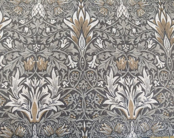 Free Spirit Kelmscott by Morris & Co. Snakehead Taupe Tan Gray Grey Leaf Fabric PWWM010 BTY
