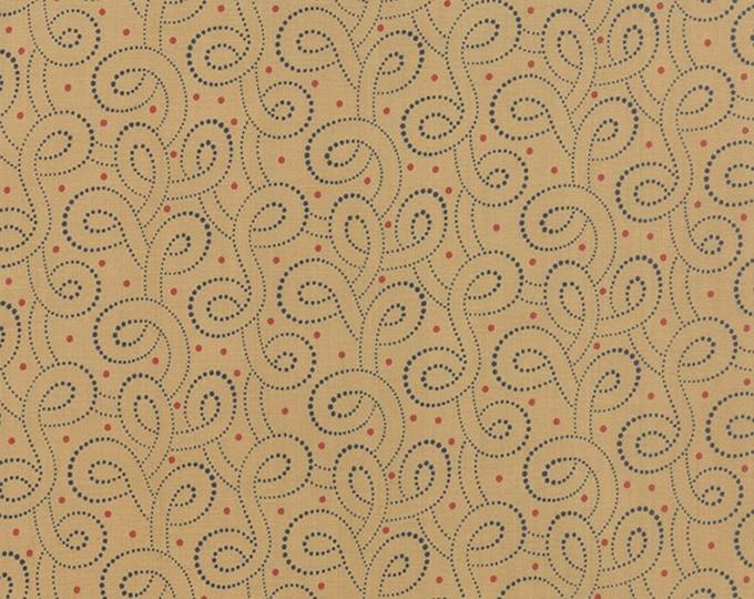 Moda Polka Dots Paisleys Tan Blue Red Swirl Dot and Polka Dot Fabric 14808-13 BTHY