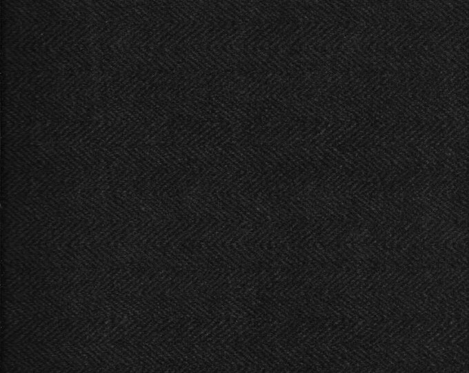 Maywood Woolies Black Herringbone  FLANNEL Fabric MASF-1841-K4  BTY