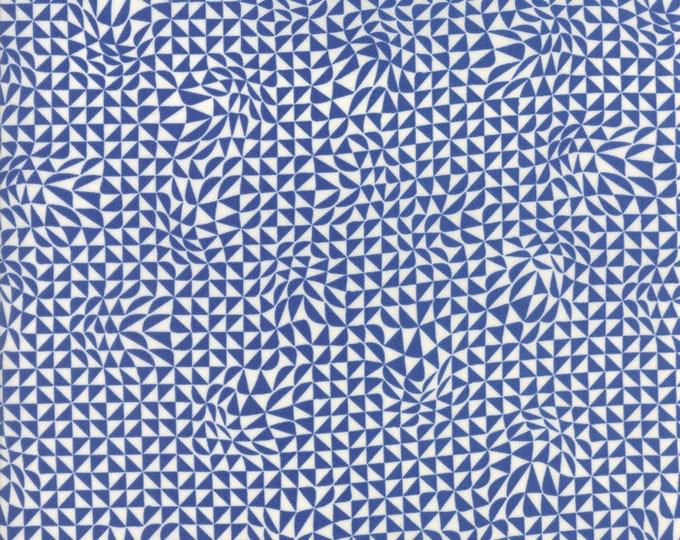 Moda Zen Chic True Blue White Indigo Geometric Triangle Fabric 1624-12 BTY