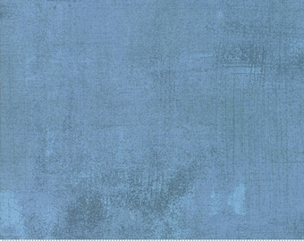 Moda Grunge Basics FADED DENIM Blue Mottled Background Fabric 30150-387 BTY