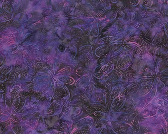 RJR Malam Jinny Beyer Batik Fabric Medium Purple Pink Floral Leaf 2147-002 BTY