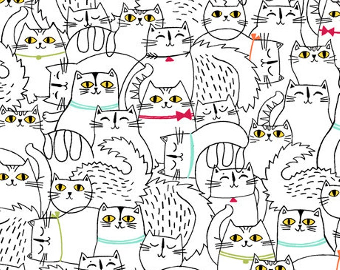 Ink and Arrow Quilting Treasures Cat Fish Cats Black Outline on White 26730-Z Fabric BTY