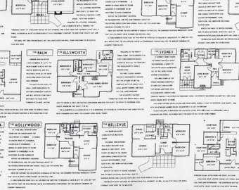 RJR Fine Print Brenda Ratliff Floor Plans White Black Low Volume Fabric BTY 3227-001