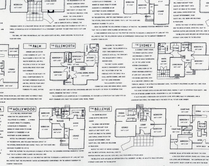 RJR Fine Print Brenda Ratliff Floor Plans White Black Low Volume Fabric BTY 3227-001
