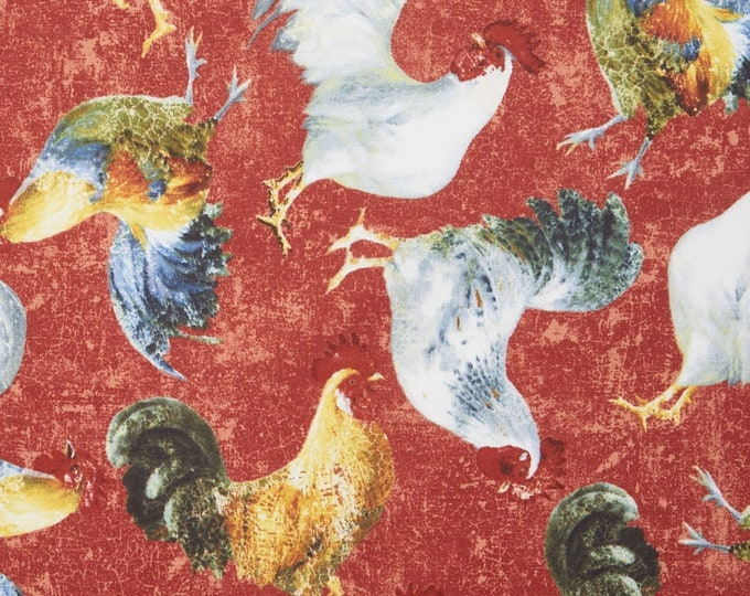 Wilmington Prints Early to Rise Red Chicken Rooster Farm 1077-375 Fabric BTY