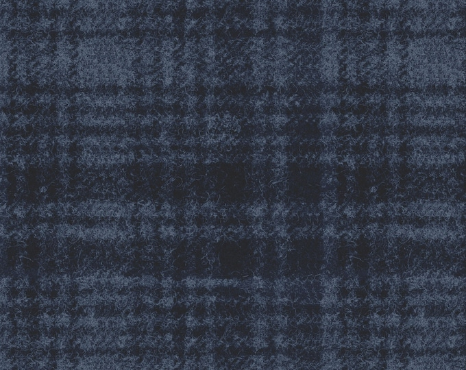 Maywood Woolies Blue on Blue Large Windowpane Plaid FLANNEL Fabric 18501-N BTY
