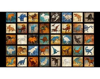 QT Fabrics Lost World Dan Morris Dinosaur T-Rex Fossil Patches on Black Fabric BTP