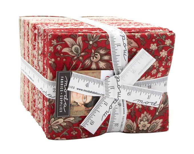 NEW French General Chafarcani Red Tan Cream Floral 40 Fat Quarter Fabric FQ Bundle