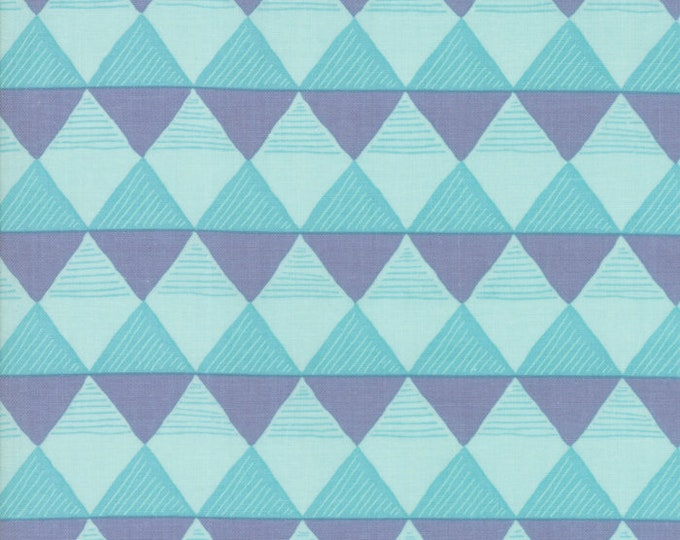 Moda Twilight by One Canoe Two Mint Green Blue Gray Triangle Fabric 36034-13 BTY