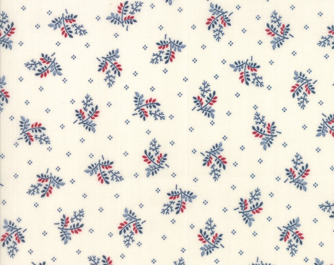 Moda Liberty Gatherings White Cream with Red Blue Wheat Civil War Fabric 1202-21 BTY