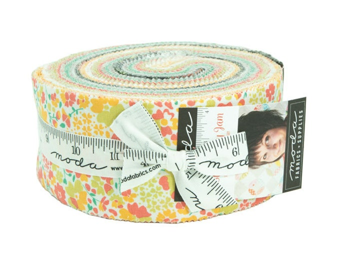 Moda Strawberry Jam Corey Yoder Bright Floral Pink Yellow Green Jelly Roll 2.5 Fabric Strips