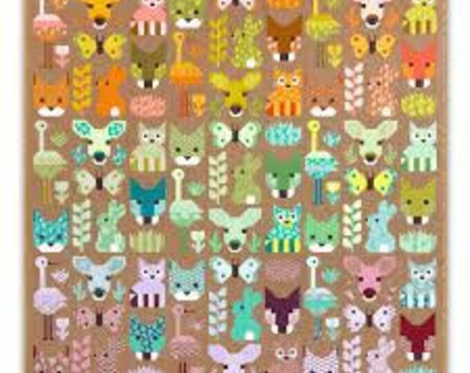 Robert Kaufman Delightful Desert Elizabeth Hartman Bunny Doe Quilt Racoon Modern Quilt Kit and Pattern