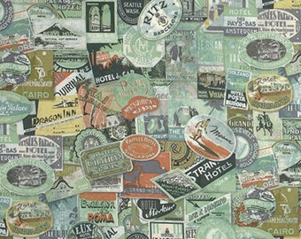 Tim Holtz - Eclectic Elements - Travel Labels Sticker Stamp Writing Fabric PWTH009 Multi BTY