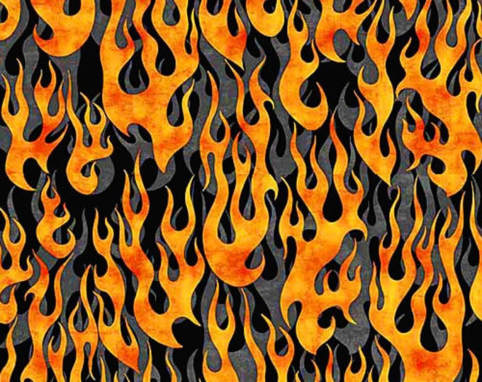 Quilting Treasures 5 Alarm Fire Fighter Fireman Flame Flames Black Gray 26296-K Fabric BTY