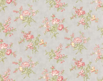 Moda Whitewashed Cottage Pebble Medium Floral 3 Sister's Gray Shabby Fabric 44065-14 BTY