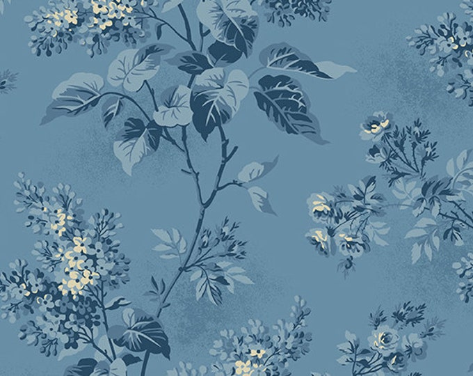 Andover Laundry Basket Quilts LBQ Edyta Sitar Blue Sky Blue Cream Floral Fabric A-8505-W BTY