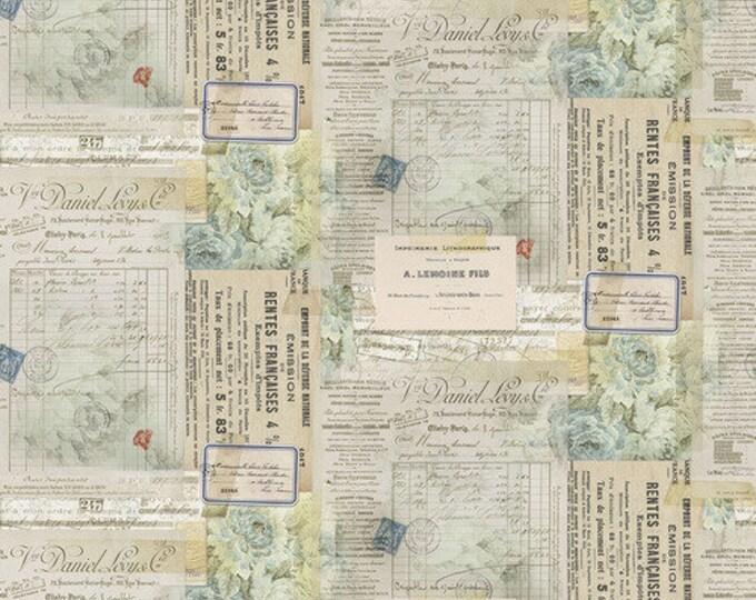 Free Spirit Tim Holtz - Electic Element - Paris Multi Postcard Letter Envelope Writing Fabric PWTH101 BTY