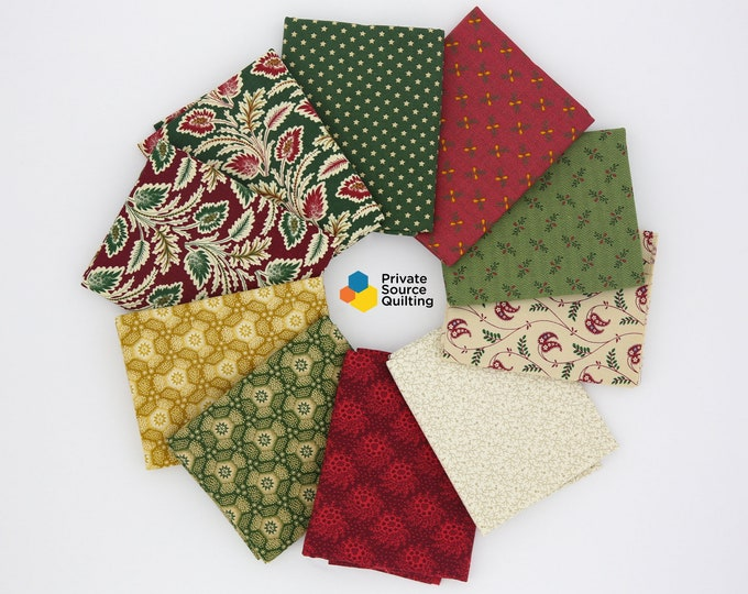 Marcus Old Sturbridge Village Holiday Christmas Civil War Reproduction Fabric 10 Fat Quarter FQ Bundle