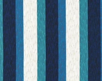 Cotton and Steel Homebody Navy Teal Green Stripe Fabric Kimberly Kight BTY