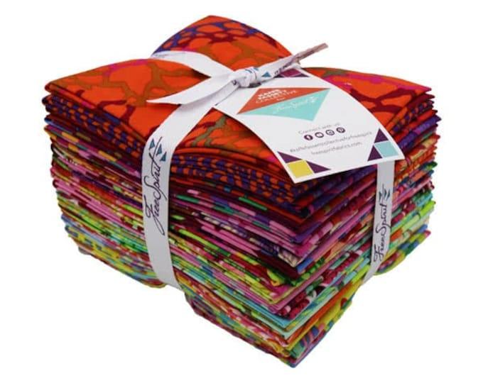 Free Spirit Rowan Kaffe Fassett Spring 2018 Red Pink Green Purple Bright Fabric 20 Fat Quarters FQ Bundle