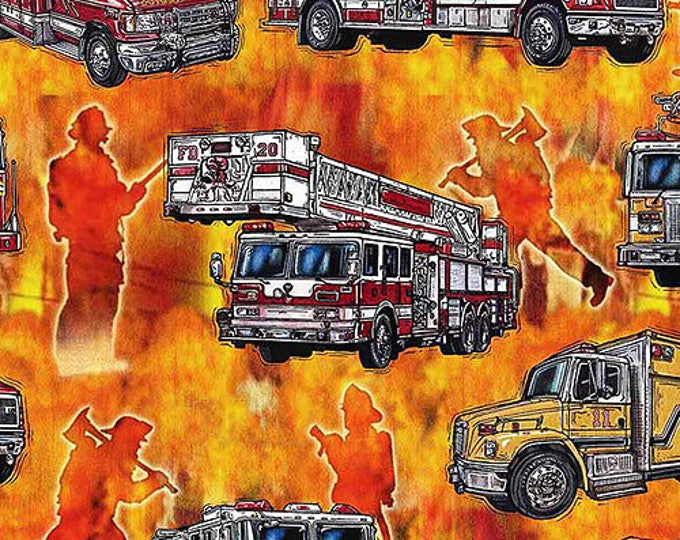 5 Alarm Fire Fighter Fireman Truck Flame Orange Fabric BTY