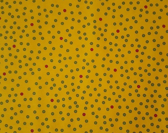 Quilting Treasures  Imperial Paisley Cotton Quilt Fabric26040-S BTY  Red Green Polka Dot on Yellow