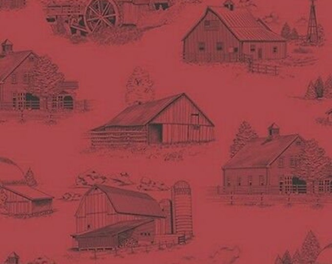 QT Fabrics Homestead Ivy Lane Red Barn OOP Fabric BTHY