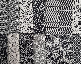 RJR Fabric Patrick Lose Odds and Ends Black and White Modern Background Fabric 16 Fat Quarter